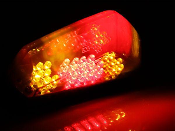 Baglygte med blinklygte LED, klar - universal