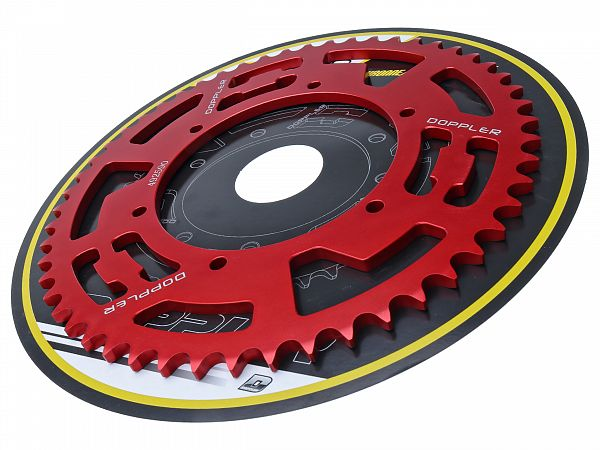 Bagtandhjul, rød - 53T - ø108mm - Doppler