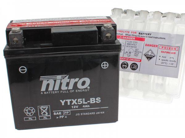 Batteri - Nitro 12V 4Ah YTX5L-BS