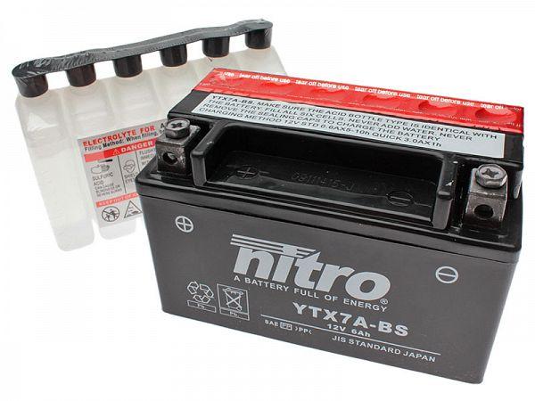 Batteri - Nitro 12V 6Ah YTX7A-BS