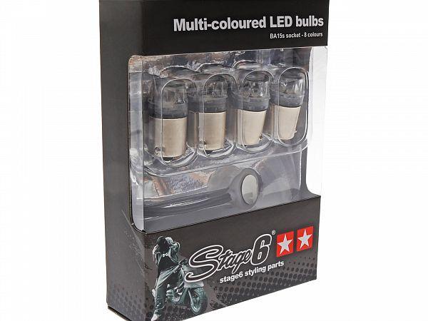 Blinklyspære sæt - 8-farvet - BA15s LED - Stage6