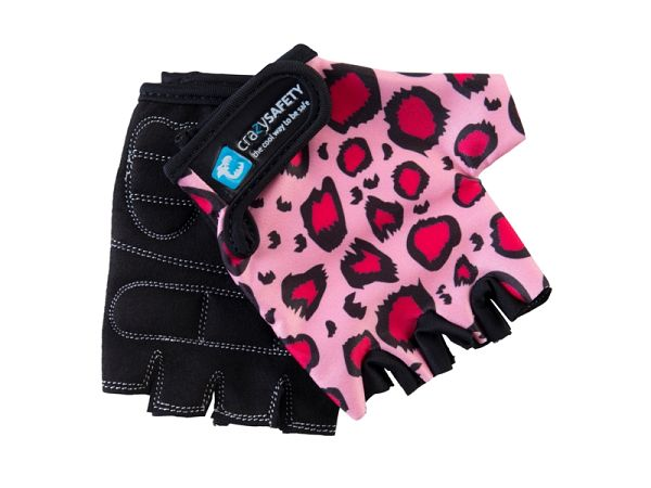 Crazy Safety Pink Leopard Cykelhandsker - small