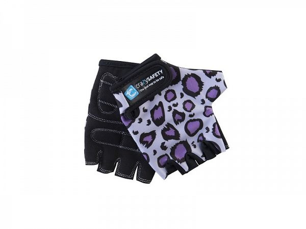 Crazy Safety Purple Leopard Cykelhandsker - small