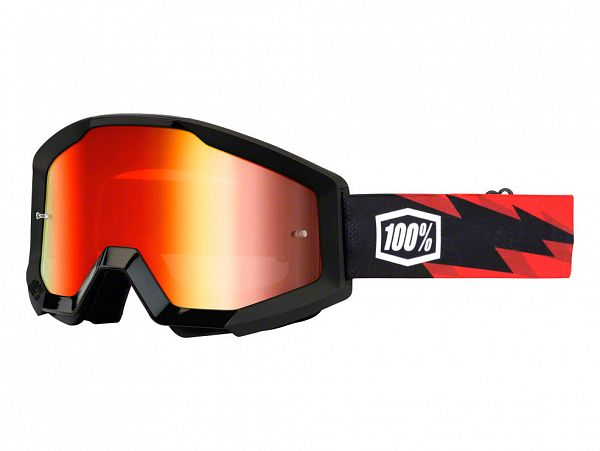 Cross brille - 100% Strata Slash Black/Red