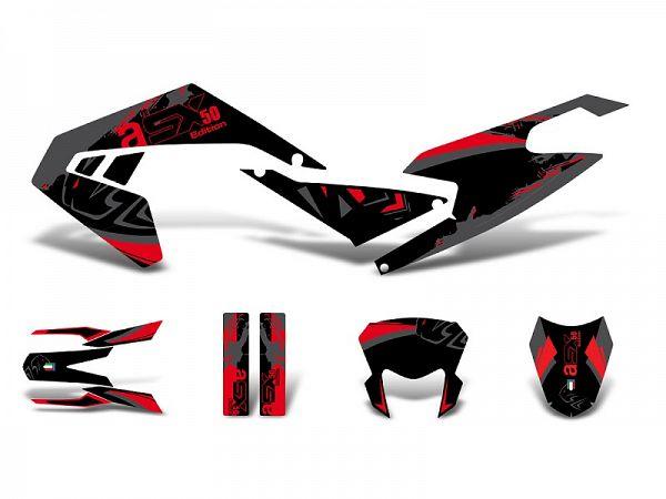 Decal kit - red / gray / black - matt