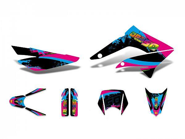 Decal set - pink / blue / black - glossy