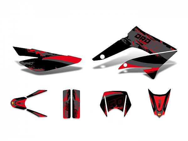 Decal set - red / gray / black - matt
