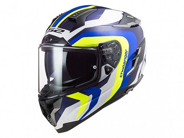 Helmet - LS2 FF327 Challenger Galactic, blue / white / fluo yellow