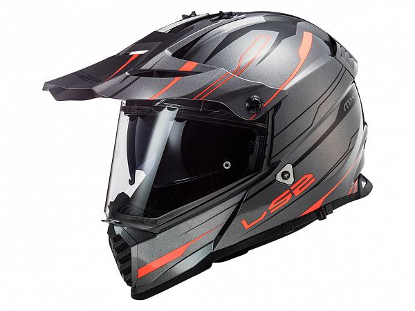 Helmet - LS2 MX436 Pioneer Evo Knight, gray / orange
