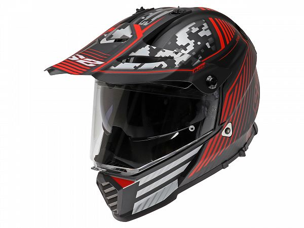 Helmet - LS2 MX436 Pioneer Evo Saturn, matt black / red / white