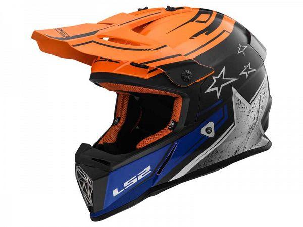 Helmet - LS2 MX437 Fast Core, blue / orange / black