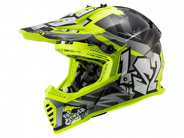 Helmet - LS2 MX437 Fast Evo Crusher, gray / fluo yellow