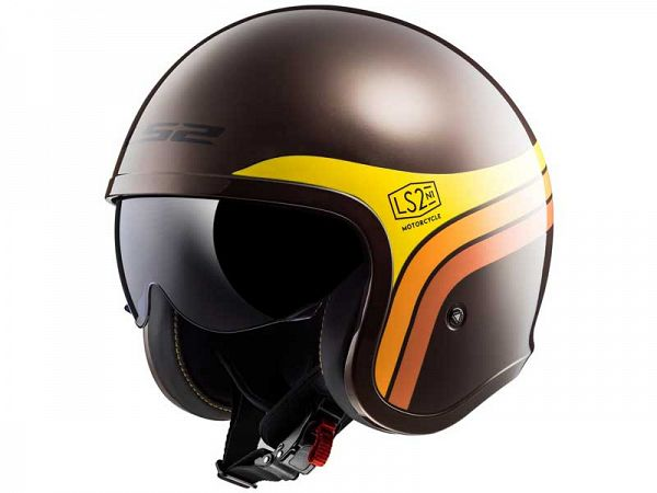 Helmet - LS2 OF599 Spitfire, brown / yellow / orange
