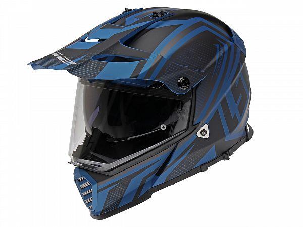 Hjälm - LS2 MX436 Pioneer Evo Master, matt svart / blå