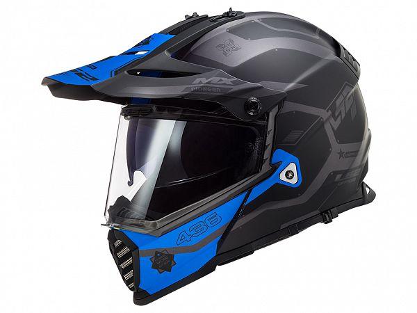 Hjelm - LS2 MX436 Pioneer Evo Cobra, matsort/blå/grå