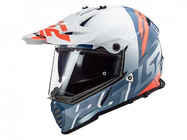Hjelm - LS2 MX436 Pioneer Evo Evolve, hvid/blå/orange