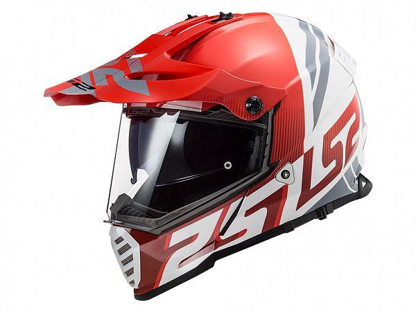 Hjelm - LS2 MX436 Pioneer Evo Evolve, rød/hvid