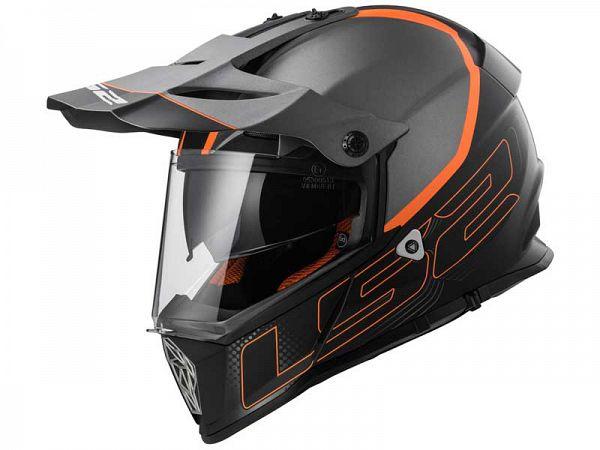 Hjelm - LS2 MX436 Pioneer, matsort/orange