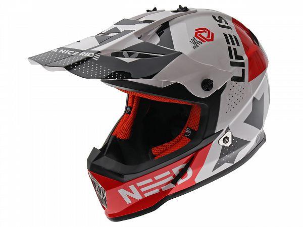 Hjelm - LS2 MX437 Fast Block, hvid/rød, x-large