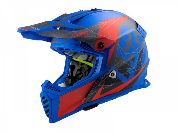 Hjelm - LS2 MX437 Fast Evo Alpha, matblå/rød