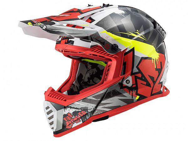 Hjelm - LS2 MX437 Fast Evo Crusher, grå/rød