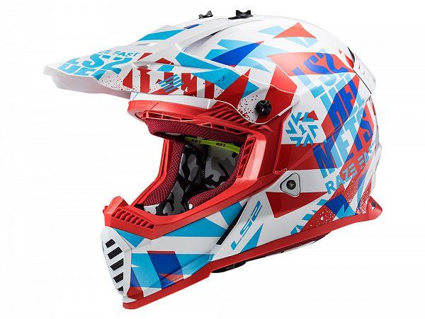 Hjelm - LS2 MX437 Fast Evo Funky, blå/rød/hvid