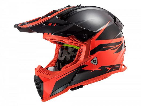 Hjelm - LS2 MX437 Fast Evo Roar, sort/rød