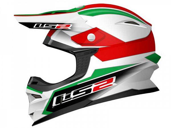 Hjelm - LS2 MX456.21, grøn/hvid/rød, medium