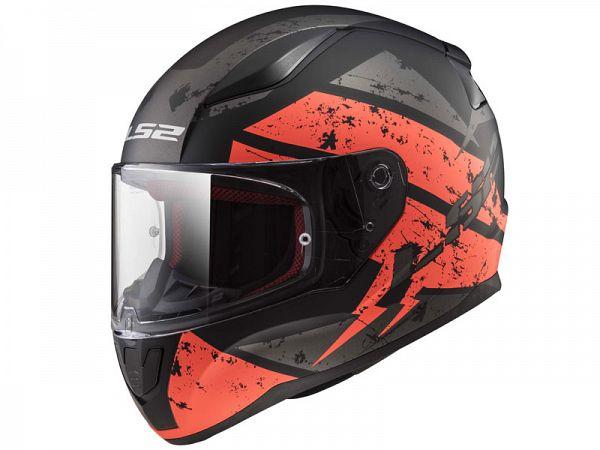 Mopedhjälm - LS2 FF353 Rapid Deadbolt, matt svart / orange