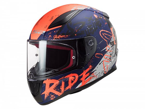 Mopedhjälm - LS2 FF353 Rapid Naughty, blå / orange / grå