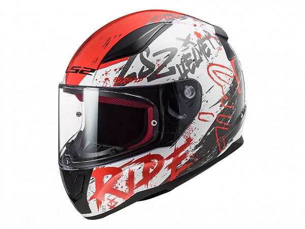Mopedhjälm - LS2 FF353 Rapid Naughty, vit / röd / svart
