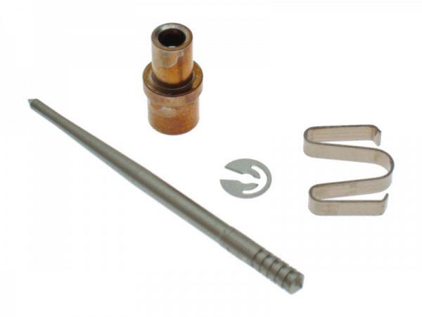 Nål, nåle låsering og nåleplade til karburator