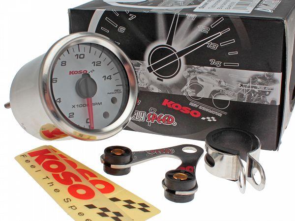 Omdrejningstæller - Koso GP Style hvid