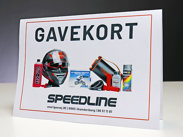 Print-selv Speedline.dk gavekort, 3.000 DKK (Læs beskrivelsen)