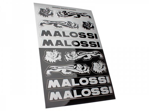 Stickerark - Malossi Black/Silver stickersæt 11x16,8cm