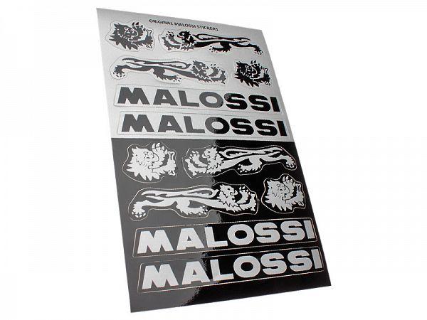 Stickerark - Malossi Black/Silver stickersæt 11x16,8cm