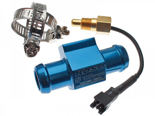 Temperature sensor incl. adapter for water hose - Stage6 / Koso, 16 mm