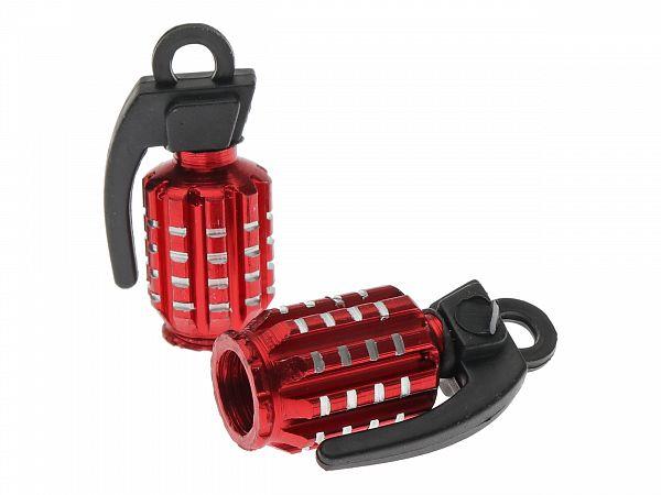 Valve caps - Grenade, red