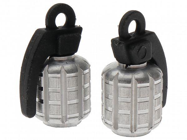 Ventilhætter - Grenade, sølv